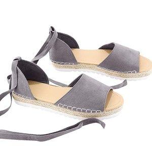 NWT Size 9.5 Women's Grey Wrap Ankle Espadrilles